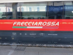 The train we take most often, Italy's Frecciarossa (Red Arrow).