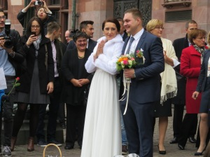 We happened upon a wedding at the city hall while wandering around Frankfurt.