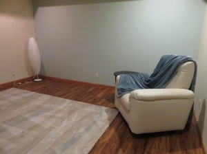 The media room is missing a sofa, also arriving in April. Janie loves to sleep in the recliner, though.