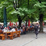 Even on a cold, gray day, the Müncheners gathered in a biergarten. Oktoberfest is a couple of days away.