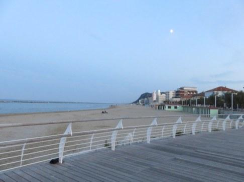 Deserted beach, mild weather.