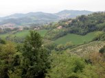 Beyond he city walls, lush landscape of Le Marche.