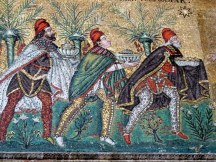The Three Wise Men look more like clowns in this colorful mosaic in the Basilica of Sant'Apollinare Nuovo.