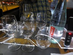 This is how Bustronome handles the glassware so you don't have them sliding off the table. Very clever!