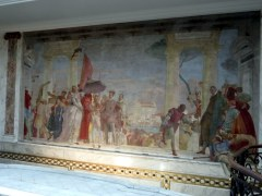 This is the large fresco painted by Giambattista Tiepolo for the Contarini villa in the Veneto, where the couple found and bought it in 1893.