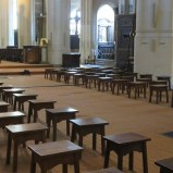Church of Saint-Gervais-et-Saint-Protais. We've not seen seating like this anywhere. Reminds me of an early-American school.