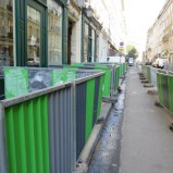 A frequent scene all over Paris: some type of infrastructure or utility project that was pervasive in the city.