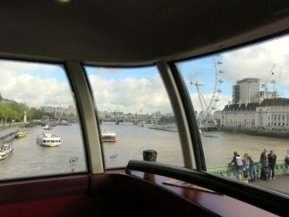 Views from a double-decker bus going over the Thames. It's a treat to ride in the front seats of the upper level.