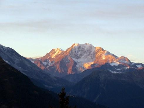 Sunlight on snowy mountain