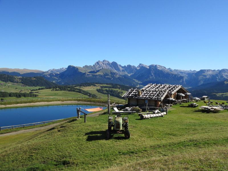 Lake, rifugio, and mountains