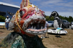 "From the ""washed Ashore"" project, made entirely of trash found in the ocean."