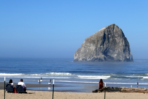 Haystack Rock, beach, and ocean