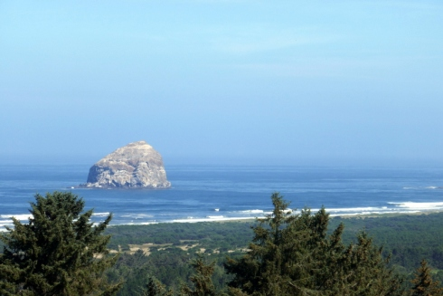 Haystack rock and ocean